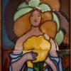 1900s British Art Nouveau Beardsley-type Maiden Framed Tile Set
