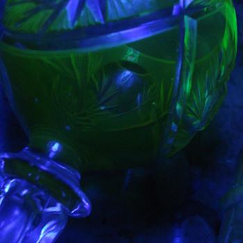 A rare cut to clear uranium goblet - Art Glass