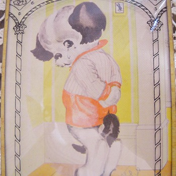 Antique curved glass doggie in corner picture - Posters and Prints