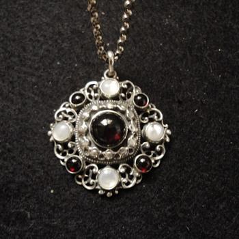 Austro-Hungarian style garnet & m.o.p. silver pendant and chain. - Fine Jewelry