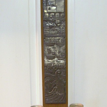 Tonsberg Hammered Aluminum Wall Hanging with wood candleholders.  - Mid-Century Modern
