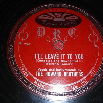 Way Back Wednesdays...The Howard Brothers...On 78 RPM Shellac - Records