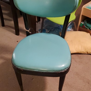 Robin's egg blue and black, vintage chair master.  - Furniture