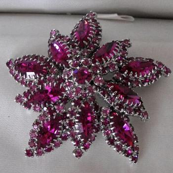 Fuchsia Sherman Brooch & Earrings - Costume Jewelry