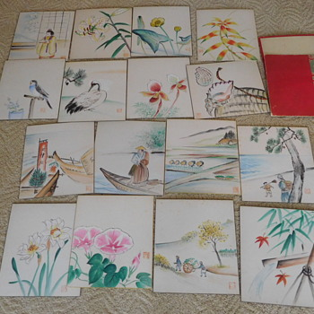 16 Handpainted Pictures   Japanese? Child's Art?