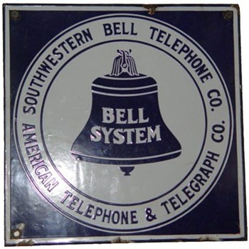 "Southwestern Bell 11x11"" sign - Telephones"