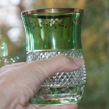 Vintage Green Cut to Clear Crystal Tumbler (or Vase?) - Glassware