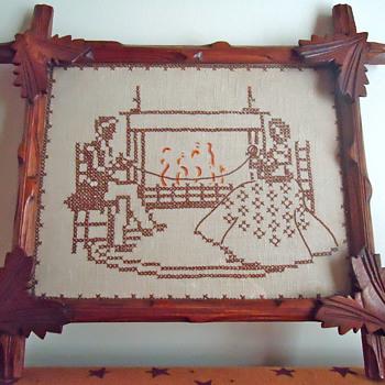 Sampler with Vintage Adirondack Wood Frame - Folk Art