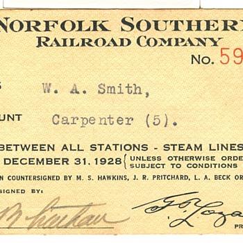 Norfolk Southern Railroad Pass---1928 - Railroadiana