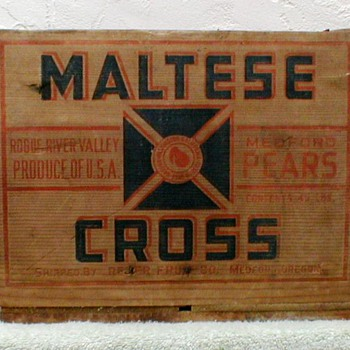 Maltese Cross Brand Wood Fruit Crate - Advertising