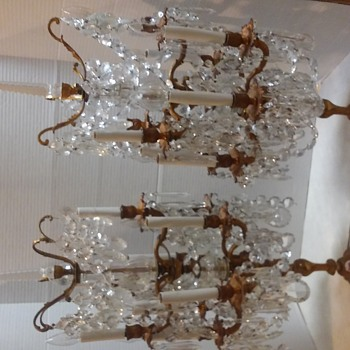 Vintage Pair of French Style Crystal Candelabra Lamps - Lamps