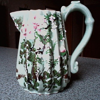Beautiful Porcelain Floral Pitcher /Hand Painted with Raised Decoration / No Mark / Age Unknown - Pottery