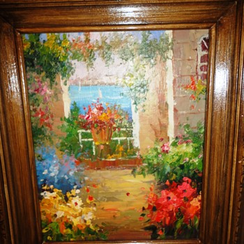 Garden Scene Oil on Board - Fine Art
