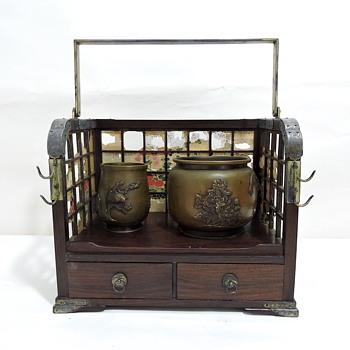 Japanese Mon (Kamon) identification help needed on Tobacco Box Set - Asian