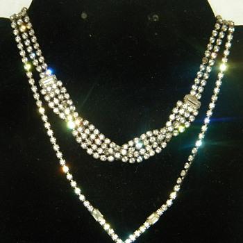 Vintage Rhinestone Necklaces Era Unknown