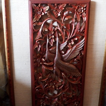 beautiful couple flying Japanese cranes wood carving  - Fine Art