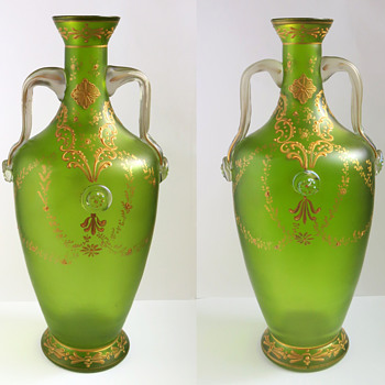 Loetz Handled Vase Pair with Raspberry Prunts in Gelbgrün Glatt, Dek I/439 - Art Glass