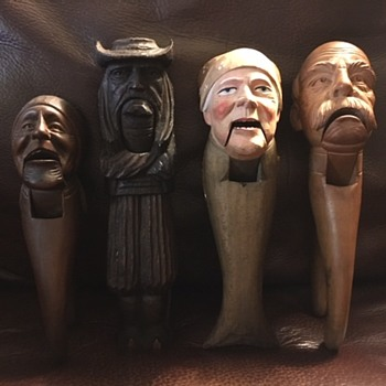 Antique Hand Carved Nut Crackers - Folk Art