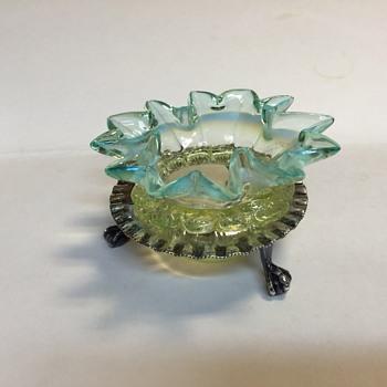 Art glass salt in EPNS Stand - Art Glass