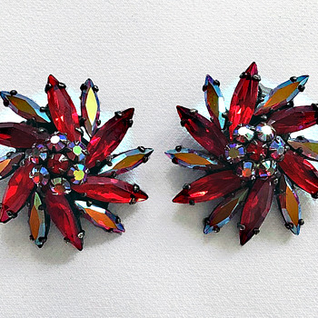 Signed Sherman Earrings, Deep Siam Red, Japanned Black Back - Costume Jewelry