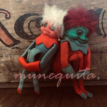 Christmas Vintage Elf (Troll?) Knee Huggers Dolls Retro Ornaments Elf on Shelf - Dolls