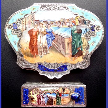 "Italian Sterling Vermeil Figural Compact plus Matching Lipstick Featuring ""Dante and  Beatrice"" Painting by Henry Holiday  - Accessories"