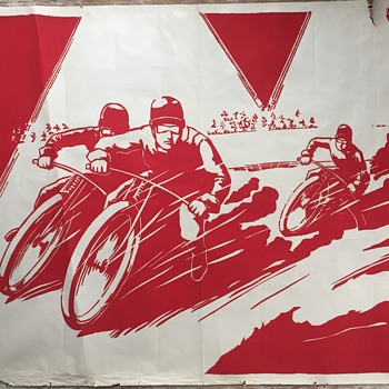 Art Deco period motorcycle speedway poster - Art Deco