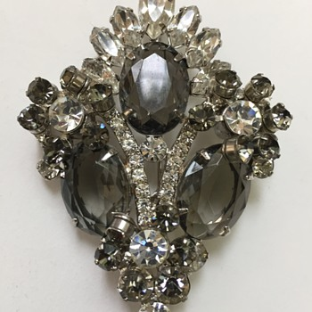 D&E Juliana Smoke and Clear Rhinestone Brooch - Costume Jewelry