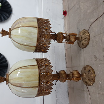 Heavy slag glass table lamp (two) - Art Deco