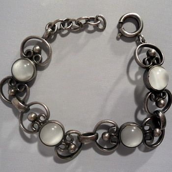 Tin and moonglow lucite bracelet - Costume Jewelry