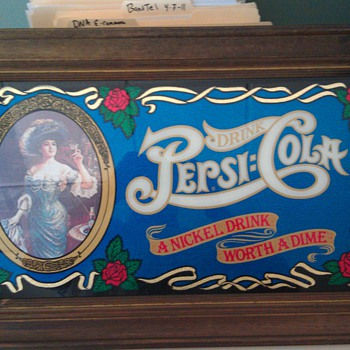 Pepsi Picture  with wooden frame - Signs
