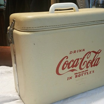 Royal Mieco, INC. Vintage white Coca cola picnic cooler  - Advertising