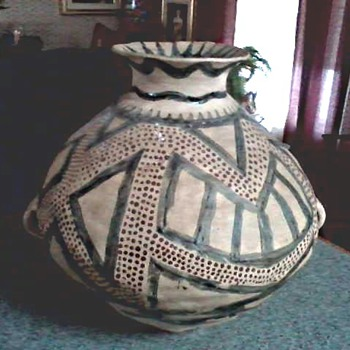 Unusual Large Native American Style Clay Handled Pot / Unknown Make and Age - Pottery