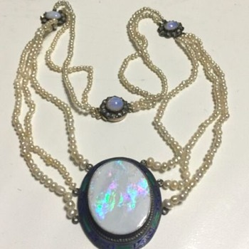 Vintage Opal and Seed Pearl Necklace - Fine Jewelry