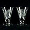 Set of 6 Vintage Etched & Cut Glass Footed Tumblers