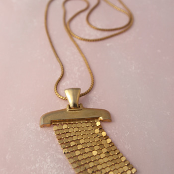 Brass Art Deco Pendant - Costume Jewelry