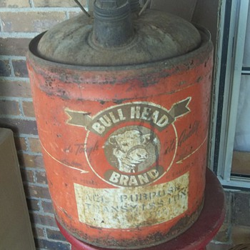 Rare Old Bull Head Transmission Oil Can