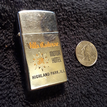 unique ZIPPO lighter from the Villa Moderne Motor Hotel - Tobacciana