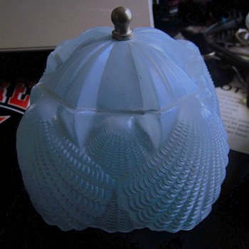 Antique Cut  Glass lamp Shade Blue heavy No markings. - Art Glass