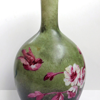 Baccarat Opaline Vase in Green and Deep Pink - Art Glass