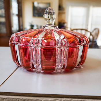 Anchor Hocking Red & Clear Striped Candy Dish - Art Glass