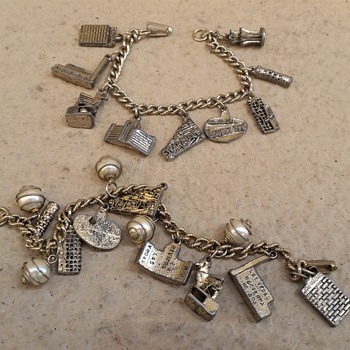 1970's silver and goldtone Las Vegas charm bracelets and a few newer.... - Costume Jewelry