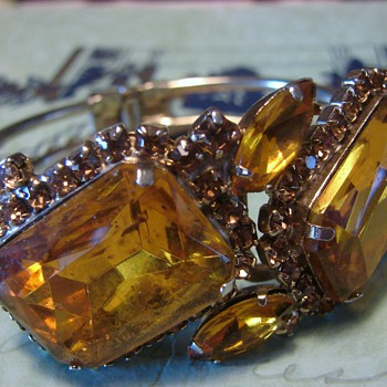 Clamper Bracelet with Topaz Colored Stones - Costume Jewelry