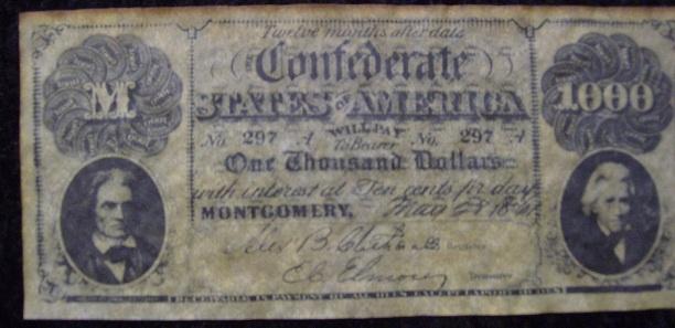 confederate 1000 note collectors weekly