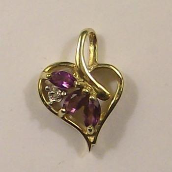 Old 14k gold-Diamond-Amethyst Heart Pendant - Fine Jewelry