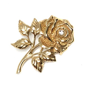 Vintage Tiffany & Co. 14 Karat Yellow Gold and Diamond Rose Brooch - Fine Jewelry