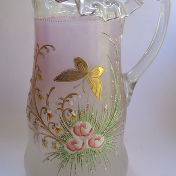 Victorian glass jug with raised enamel decoration - Art Glass