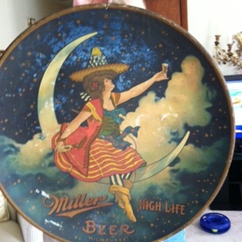 Old Miller High Life Girl In the Moon Charger (Sign/Tray) - Breweriana