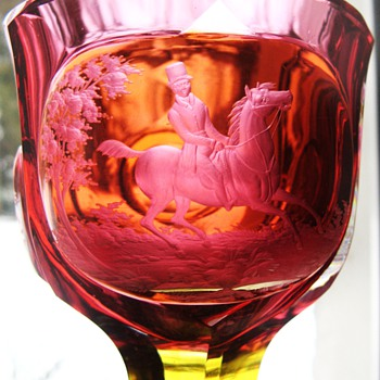 Redwine Goblet with Equestrian in Landscape Bohemia 19Cent - Art Glass