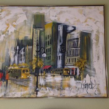 1960's rainy city scene  - Fine Art
